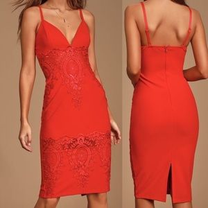 LULU'S Can't Deny It Red Lace Bodycon Midi Dress